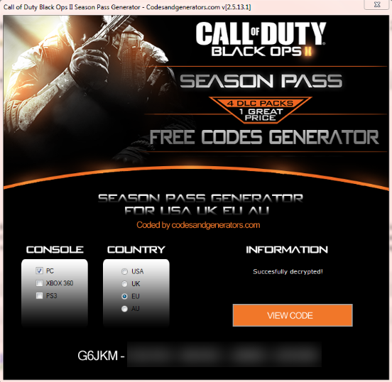 call of duty black ops 2 season pass generator